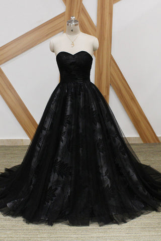 Black Lace Strapless Long Sweet 16 Prom Dress, Long Tulle Graduation Dress N1471