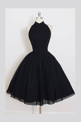 A Line Sleeveless Homecoming Dress, Simple Halter Party Dresses, Black Graduation Dress