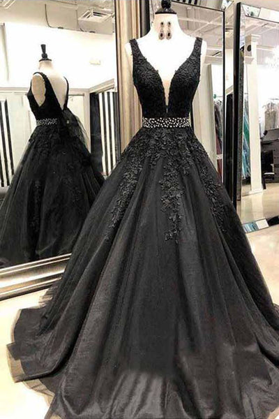 Black Appliques Prom Dress with Beaded Waist, A Line Tulle Long Graduation Dresses N1504