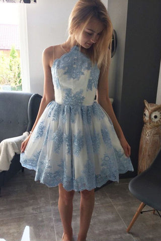 Blue Lace Appliqued Mini Homecoming Dress, A Line Sleeveless Tulle Short Prom Dress