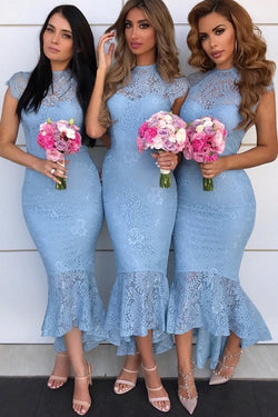 Sexy Mermaid Cap Sleeves Lace Bridesmaid Dresses, Tight Lace Formal Dresses N1660