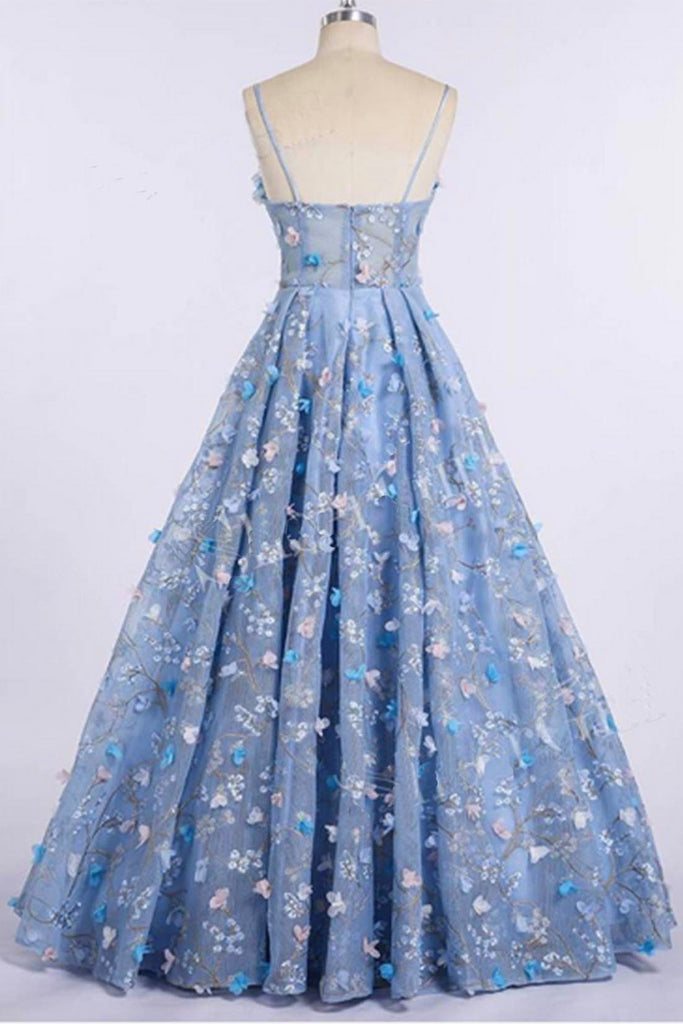 Blue Lace Spaghetti Strap 3D Flowers Applique Prom Dress, Ball Gowns N1499