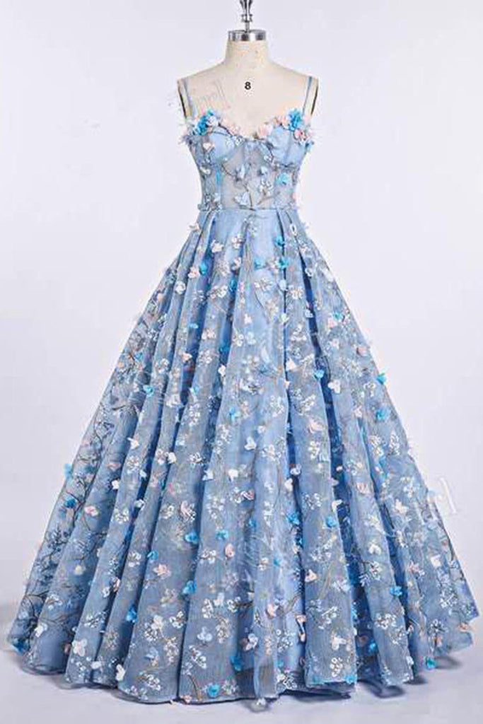 Blue Lace Spaghetti Strap 3D Flowers Applique Prom Dress, Ball Gowns N1493