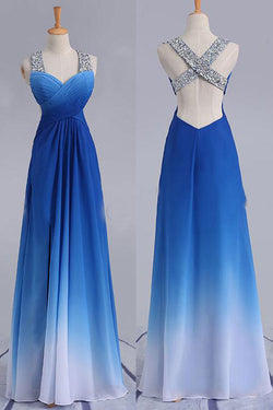 Elegant Beading Straps Cross Back Gradient Blue Ombre Prom Dress, Long Bridesmaid Dress N1603