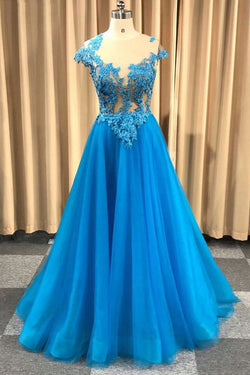 Blue Sheer Neck Appliqued Tulle Prom Gowns, A Line Cap Sleeves Long Grduation Dresses N1748