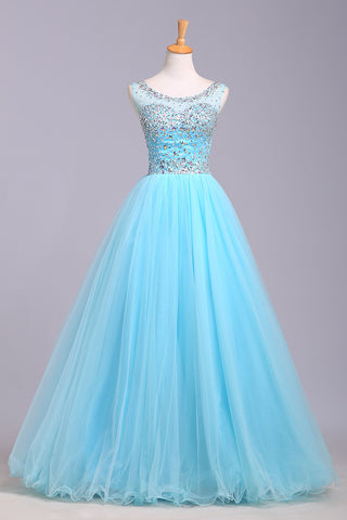 Blue Scoop Sleeveless Tulle Prom Dress with Sequins, Floor Length Puffy Evening Dress