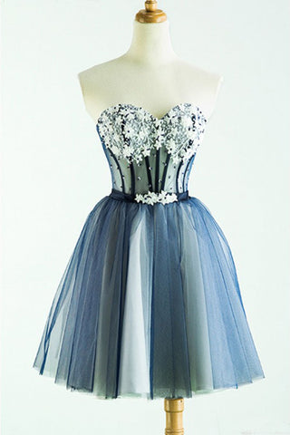 Cute Sweetheart Tulle Homecoming Dress with Beads, A Line Appliqued Short Prom Dress
