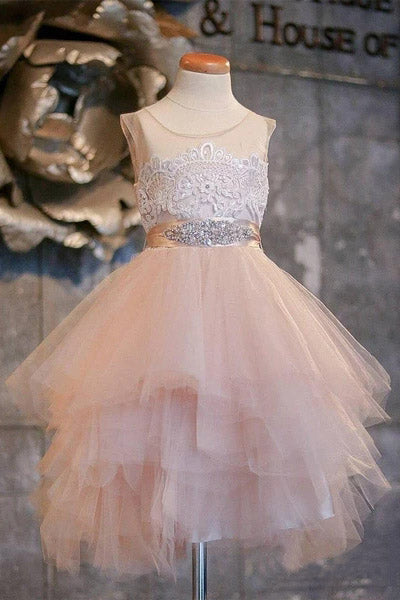 Puffy Flower Girl Dresses Asymmetric Tulle Lace Top Cute Dress for Kids F068