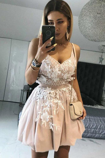 Blush Spaghetti Straps Short Prom Dress with Appliques, Mini Tulle Sweet 16 Dress
