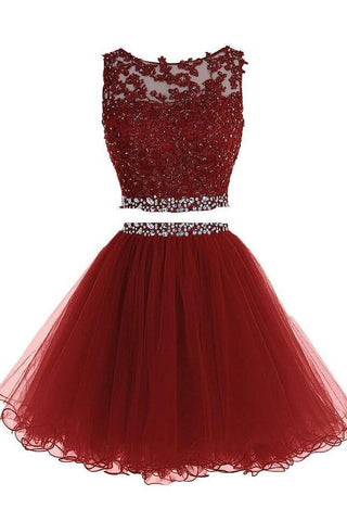 Two Piece Homecoming Dresses,A-line Tulle Appliqued Homecoming Gown with Beads,N282