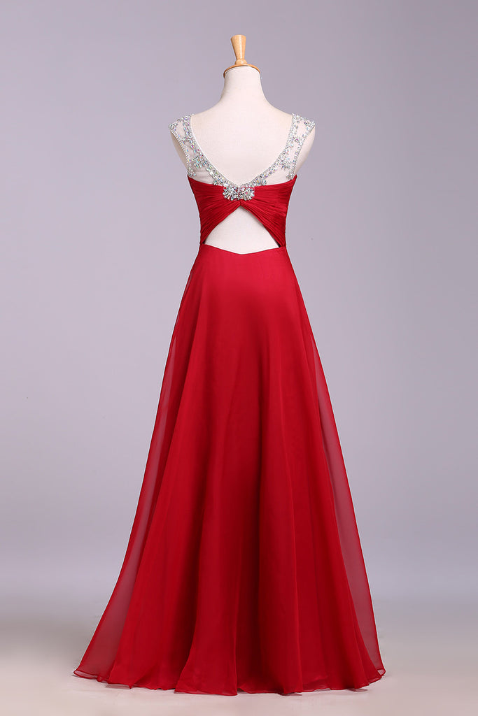 Red Floor Length Chiffon Prom Dress with Crystals, A Line Pleated Evening Dress N1197