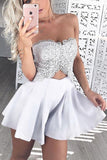 Two Pieces Cheap Strapless Lace Homecoming Dress,Satin Short Prom Dress,Party Dress