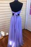 Two Piece Halter Lavender Prom Dress With Beading, Floor Length Tulle Evening Dress N1140