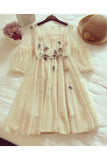Beige 3/4 Sleeve Knee Length Prom Dress with Flowers, Sweet Homecoming Dresses N1066