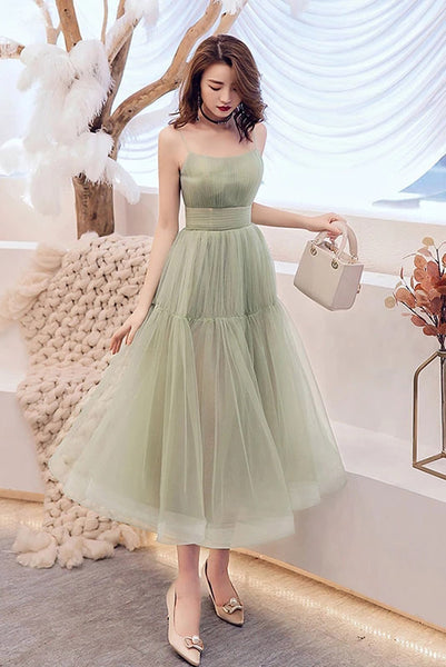Simple Green Tulle Spaghetti Strap Sleeveless Pleated Prom Dresses, A Line Party Dress N2093