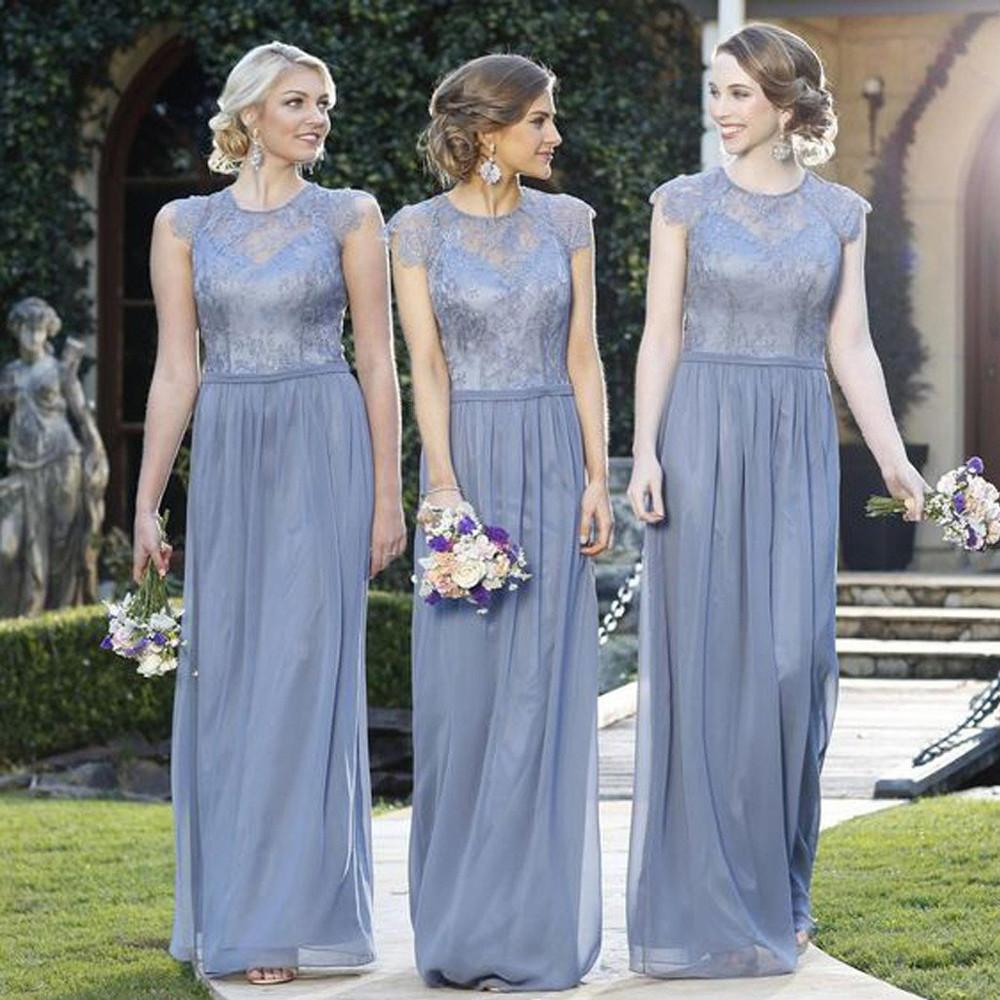 A Line Cheap Lace Top Cap Sleeve Jewel Floor Length Formal Bridesmaid Dresses,N498