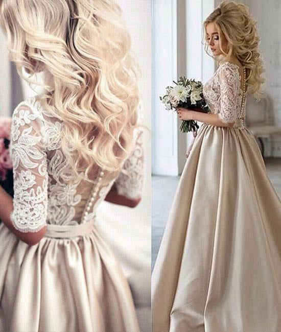 Champagne Half Sleeves V-neck Ruched Long Prom Dress With