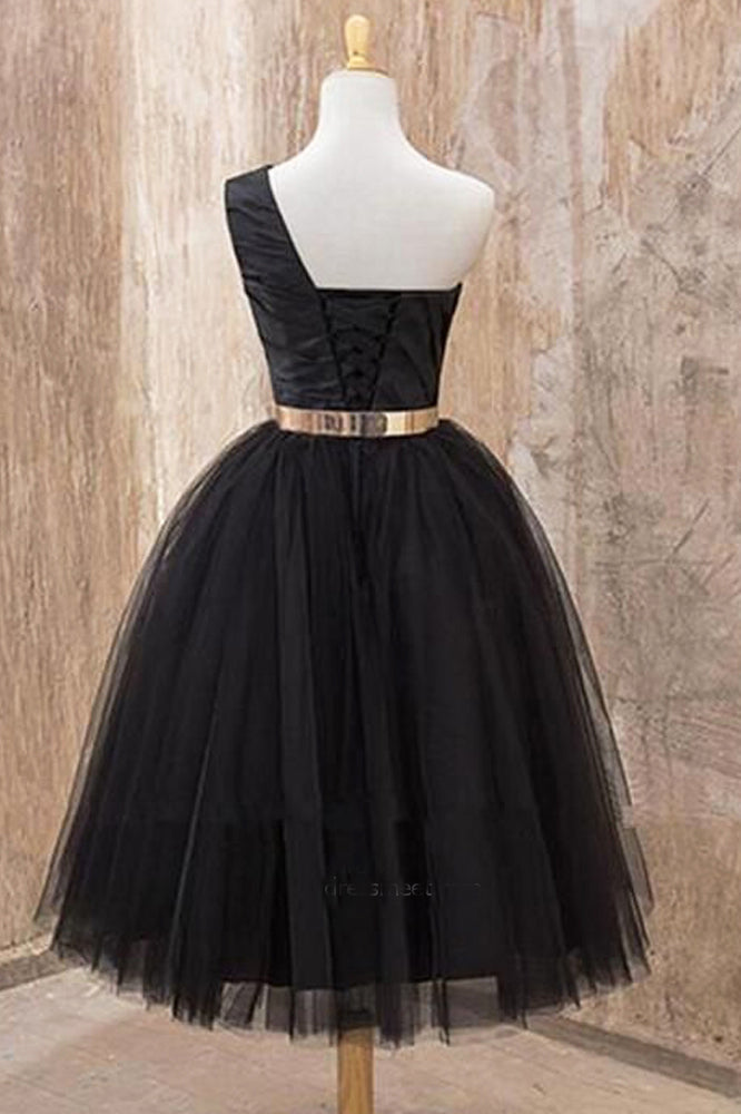 A Line One Shoulder Black Tulle Tea Length Homecoming Dresses with Belt, Short Prom Dresses N1071