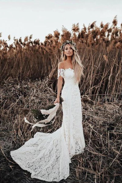 Mermaid Off the Shoulder Lace Beach Wedding Dress, Long Rustic Wedding Dresses N2253