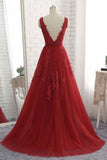 Cheap Floor Length Burgundy V Neck Evening Dress, Appliqued Long Tulle Prom Dress N1134