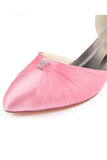 Pink Wedding Shoes with Beads, Fashion Low Heels Woman Shoes L-925