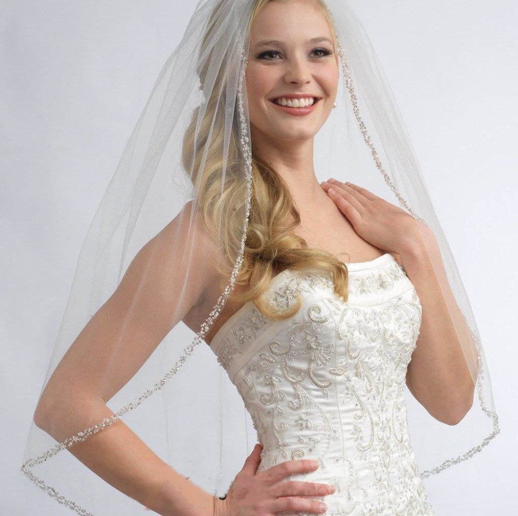One Layer Fingertip Wedding Veil with Crystals and Sequins, Ivory Beading Edge Veil V017