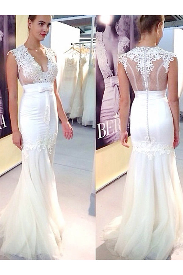 Long Applique Tulle V-neck Sleeveless Mermaid Wedding Dresses, Sexy Bridal Dress N848
