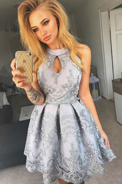 Charming A Line Halter Keyhole Grey Lace Short Homecoming Dresses, Short Party Dresses