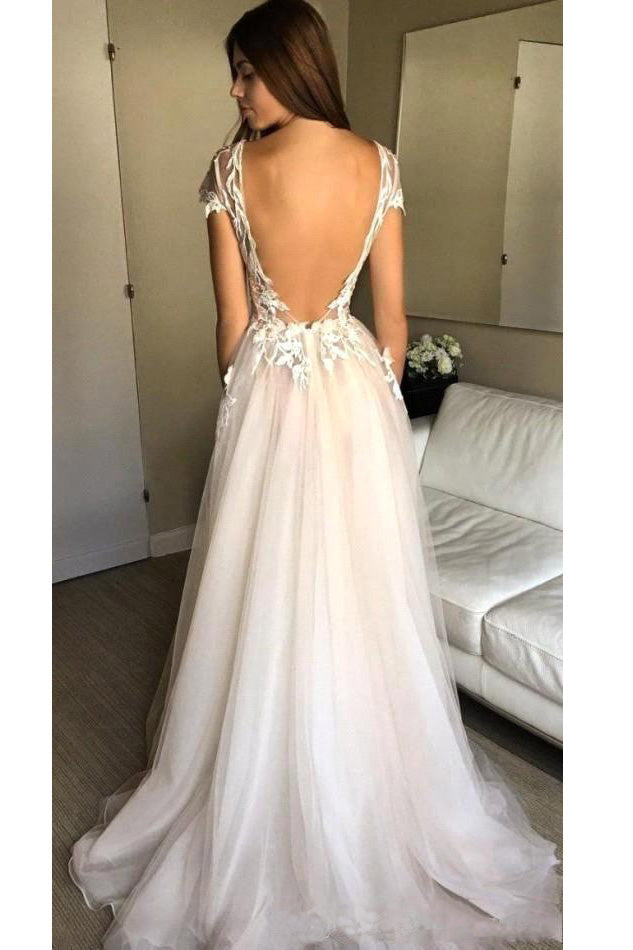 Cap Sleeve Deep V-neck Prom Gown With Appliques,Sexy Split Tulle Wedding Dresses, N99