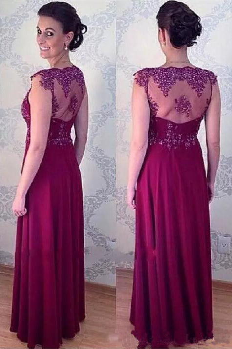 Elegant A Line Long Appliqued Mother Of The Bride Dresses Floor Length Evening Dress N999