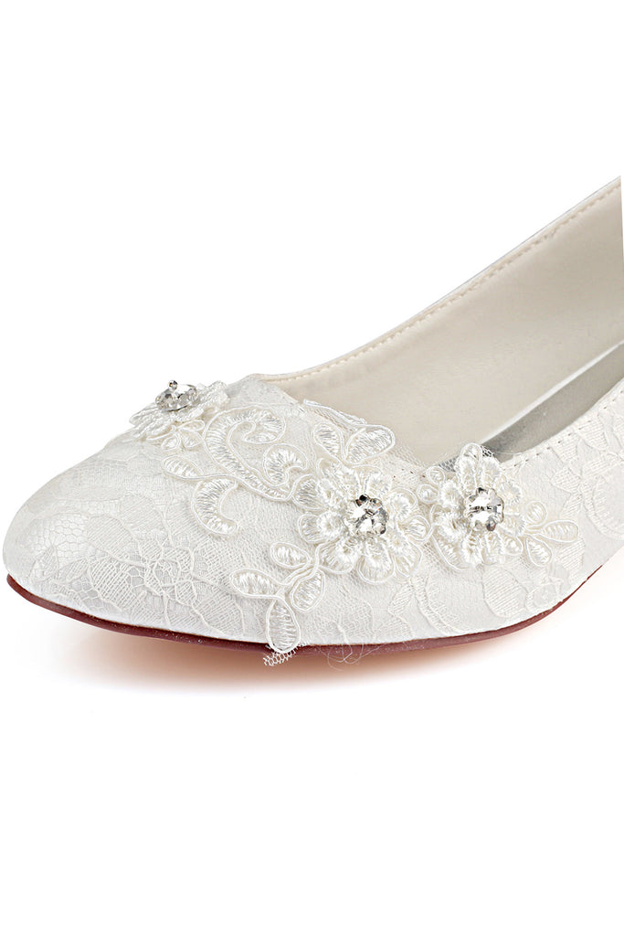 Ivory Wedding Shoes with Appliques, Fashion Woman Shoes with Rhinestone L-922