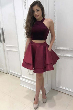 Dark Red Two Piece Satin Mini Homecoming Dress, Simple Sleeveless Party Dresses