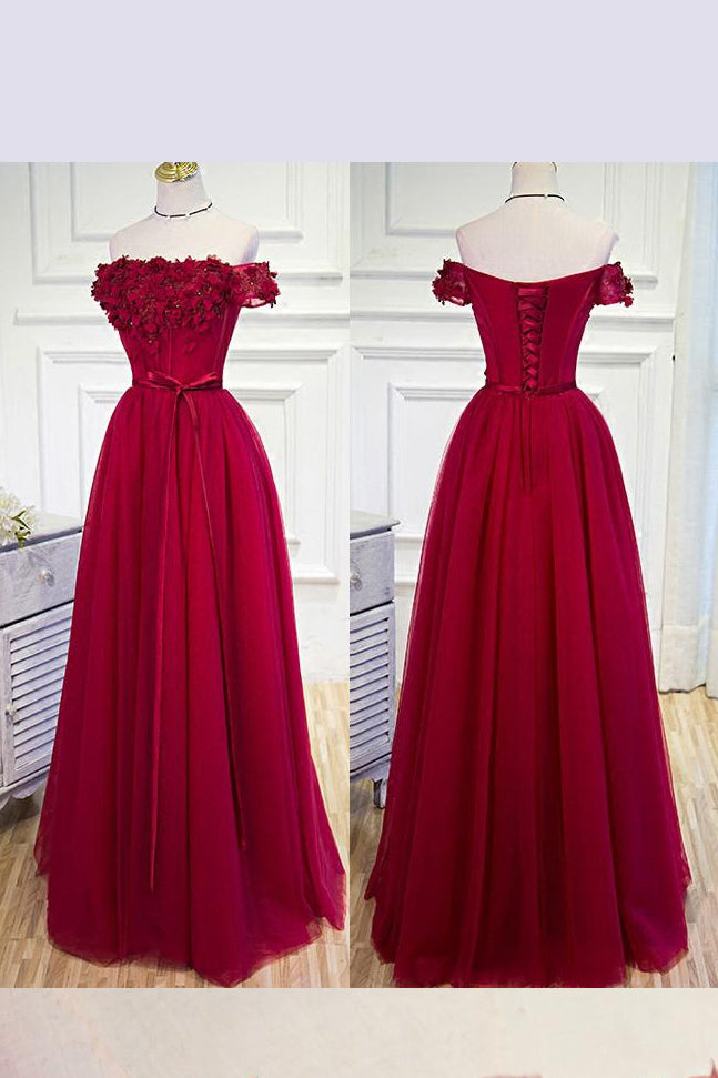 Burgundy Off the Shoulder Floor Length Prom Dress with Hand Made Flowers Belt,N698