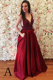 Burgundy Sleeveless V Back Prom Dress with Beads, Cheap Long Prom Dress N792