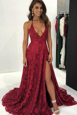 Burgundy Deep V Neck Lace Evening Dress, Sweep Train Backless Long Lace Prom Gown