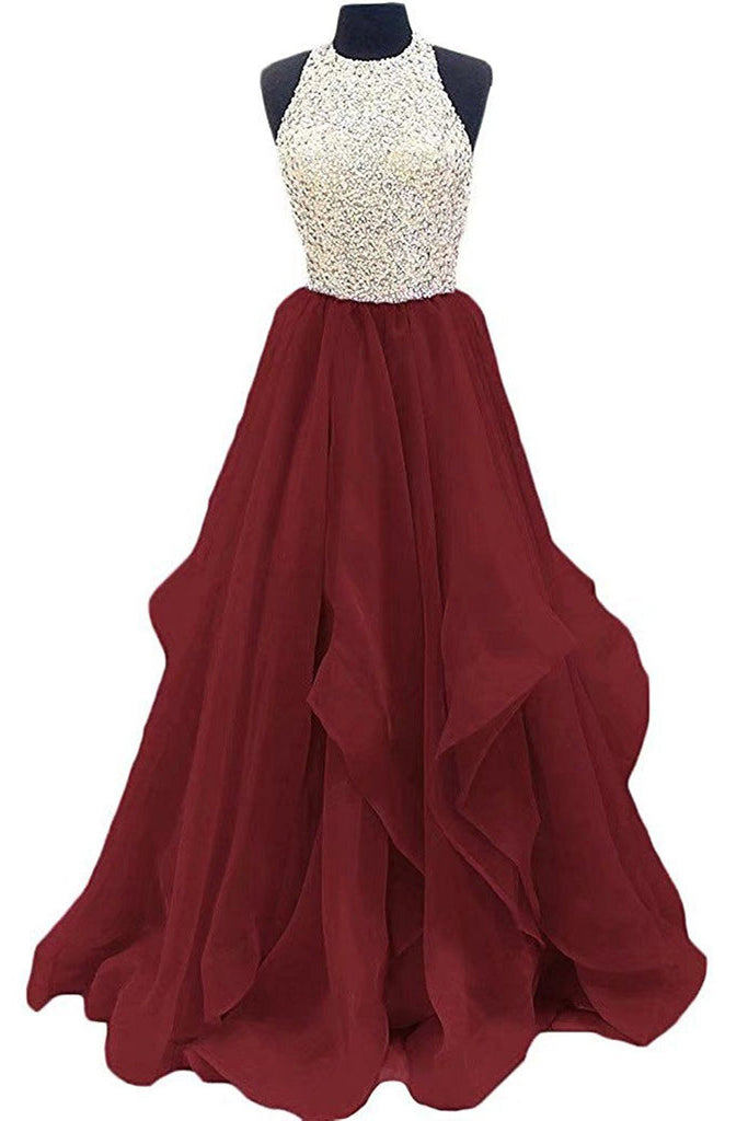 Burgundy Jewel Sleeveless Organza Floor Length Prom Dress with Sequins, Graduation Dress N807