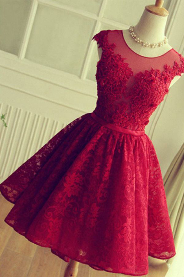 Burgundy A Line Lace Homecoming Dress, Cheap Sleeveless Lace Graduation Dresses N1009