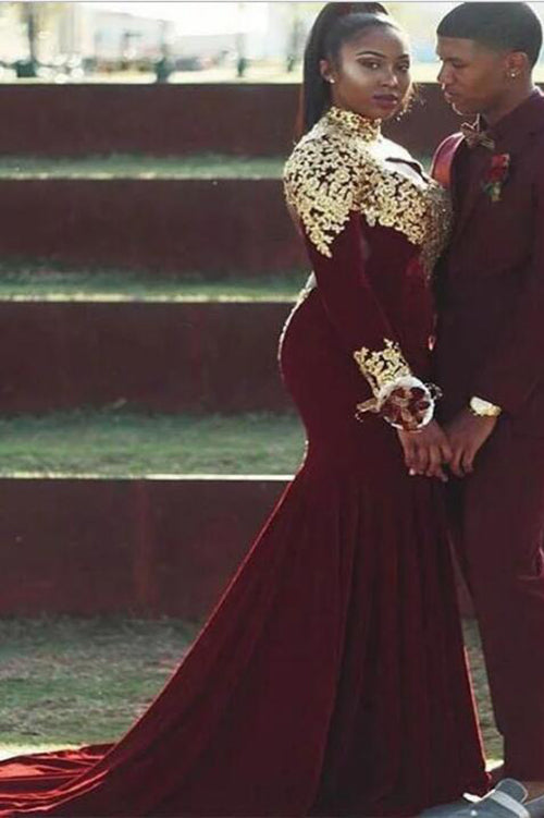 Mermaid Plus Size High Neck Prom Dress with Gold Appliques, Burgundy Long  Sleeve Dress N1212