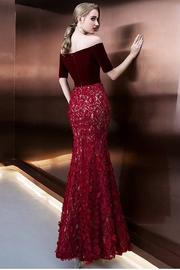 Burgundy Off Shoulder Half Sleeve Long Evening Dress with Side Slit, Mermaid Prom Dress N1065