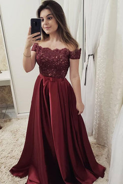 Burgundy Off Shoulder Satin Prom Dress with Lace, A Line Cheap Formal Dresses N1571