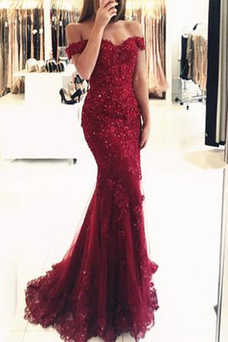 Elegant Burgundy Mermaid Off the Shoulder Beaded Lace Appliques Evening Dresses,N673
