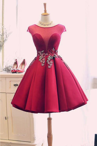 cccdb78162 Burgundy Satin Ruched Homecoming Dress
