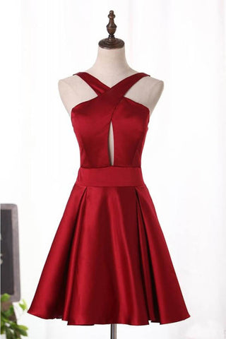 Unique Burgundy Satin Short Homecoming Dress, A Line Short Prom Dress with Keyhole
