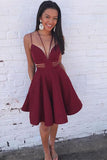 Burgundy Spaghetti Straps Mini Ruched Homecoming Dress, Cute Satin Party Dresses N1077