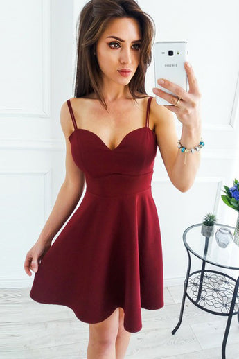 Burgundy Sweetheart Mini Satin Homecoming Dress, Spaghetti Straps Sexy Mini Cocktail Dress