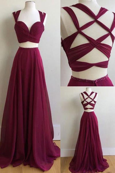 Sexy Two Pieces Sleeveless Burgundy Band Chiffon Criss-Cross Straps Prom Dresses,N591