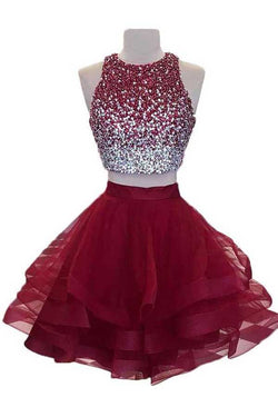 Two Piece Burgundy Homecoming Dress with Open Back, Sequined Short Prom Dress