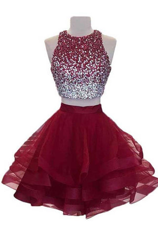 1057580c174 Two Piece Burgundy Homecoming Dress with Open Back