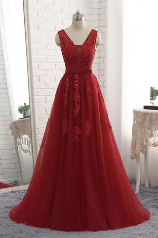 Cheap Floor Length Burgundy V Neck Evening Dress, Appliqued Long Tulle Prom Dress