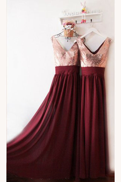 Burgundy V Neck Floor Length Bridesmaid Dress, V-Back Rose Gold Sequin Prom Dress